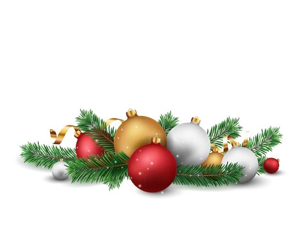 Wesołych świąt i szczęśliwego nowego roku banner z kulkami i konfetti