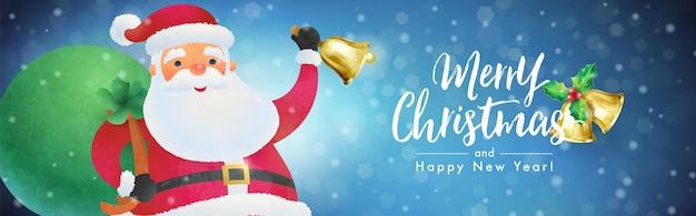 Wesołych świąt i szczęśliwego nowego roku banner z mikołajem dzwoniącym handbell na tle opadu śniegu