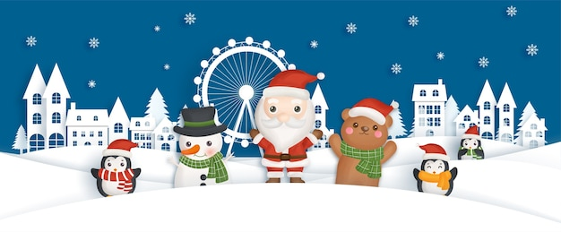 Wesołych świąt i szczęśliwego nowego roku banner z uroczym mikołajem i przyjaciółmi na śnieżnej wiosce.