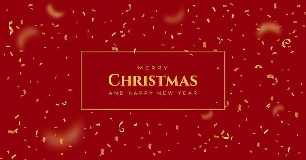 Wesołych świąt i szczęśliwego nowego roku banner z złotym konfetti