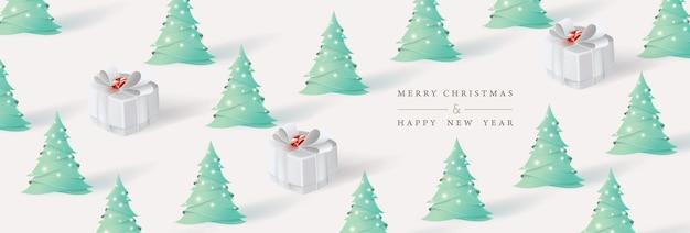 Wesołych świąt i szczęśliwego nowego roku. boże narodzenie tło z choinki i prezentów pudełko stylu sztuki papieru.