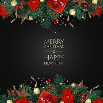 Wesołych świąt i szczęśliwego nowego roku. boże narodzenie tło z projekt pudełko, płatki śniegu i kulki.