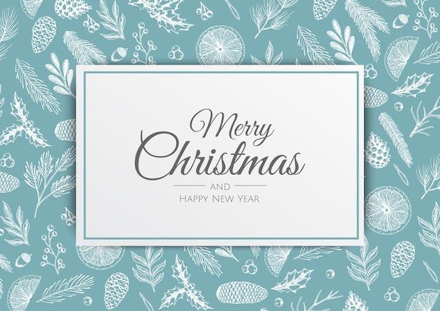 Wesołych świąt i szczęśliwego nowego roku. boże narodzenie tło z roślin zimą. kartka z życzeniami, baner świąteczny, plakat internetowy