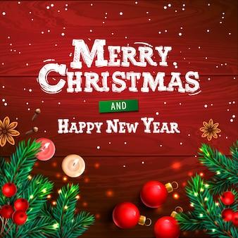 Wesołych świąt i szczęśliwego nowego roku. bożenarodzeniowy horyzontalny plakat, kartka z pozdrowieniami, chodnikowiec, strona internetowa, ilustracja.