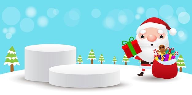 Wesołych świąt i szczęśliwego nowego roku cokół lub platforma