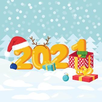 Wesołych świąt i szczęśliwego nowego roku. cyfry z czapką świętego mikołaja, pudełka na prezenty, ozdobne kulki