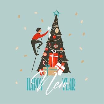 Wesołych świąt i szczęśliwego nowego roku czas ilustracja boże narodzenie drzewo i szczęśliwego nowego roku typografia na białym tle na niebieskim tle