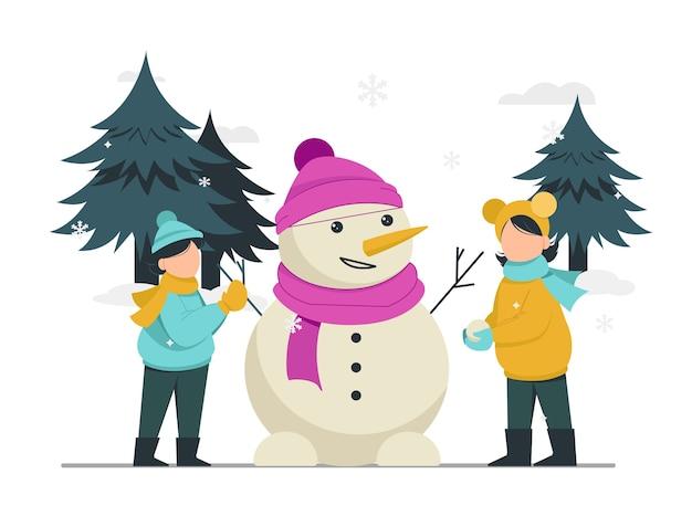 Wesołych świąt i szczęśliwego nowego roku dzieci bawiące się bałwanem