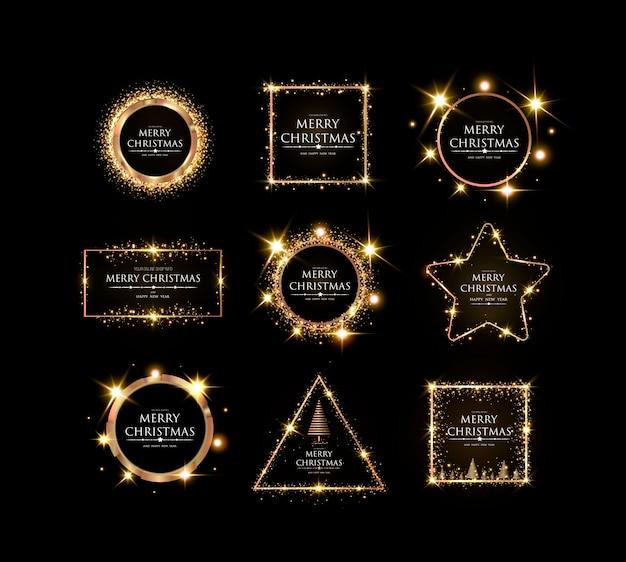 Wesołych świąt i szczęśliwego nowego roku elegancka złota ramka lśniące świąteczne złote, błyszczące i lekkie nowoczesne ramki ze złotym świątecznym szablonem