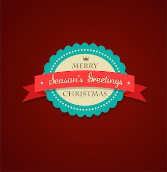 Wesołych świąt i szczęśliwego nowego roku etykieta z czerwoną wstążką. ilustracja
