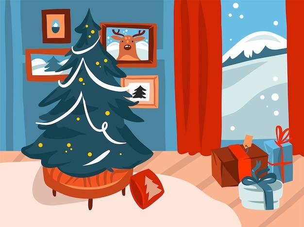 Wesołych świąt i szczęśliwego nowego roku ilustracja kreskówka