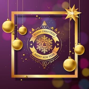 Wesołych świąt i szczęśliwego nowego roku ilustracja z typografii i złote kulki szklane na fioletowym tle. wektor holiday projekt dla kart okolicznościowych, banner, plakat, prezent.