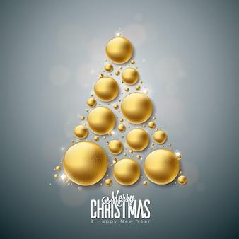 Wesołych świąt i szczęśliwego nowego roku ilustracja z złote ozdobne kulki szklane na czyste tło