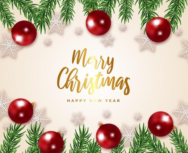 Wesołych świąt i szczęśliwego nowego roku karta podarunkowa gałąź drzewa i piłka wektor płatki śniegu