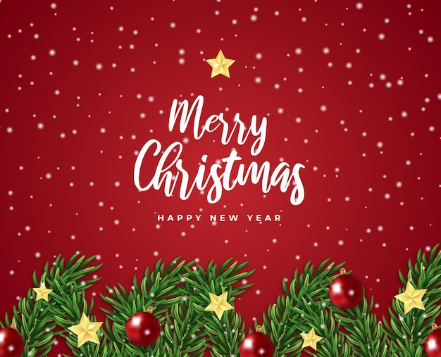 Wesołych świąt i szczęśliwego nowego roku karta podarunkowa gwiazda gałąź drzewa i wektor płatki śniegu w piłce