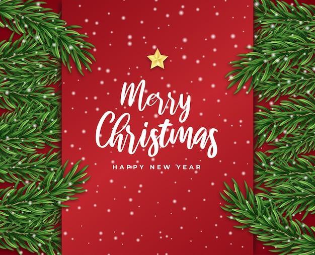 Wesołych świąt i szczęśliwego nowego roku karta podarunkowa gwiazda gałąź drzewa płatki śniegu wektor