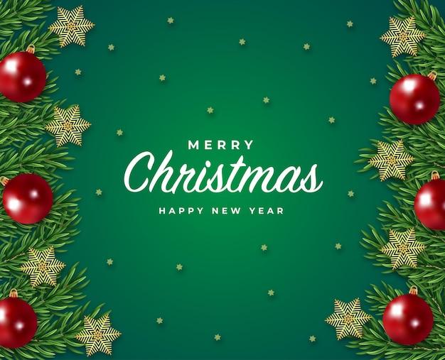 Wesołych świąt i szczęśliwego nowego roku karta podarunkowa zielona gałąź drzewa i wektor płatki śniegu w piłce