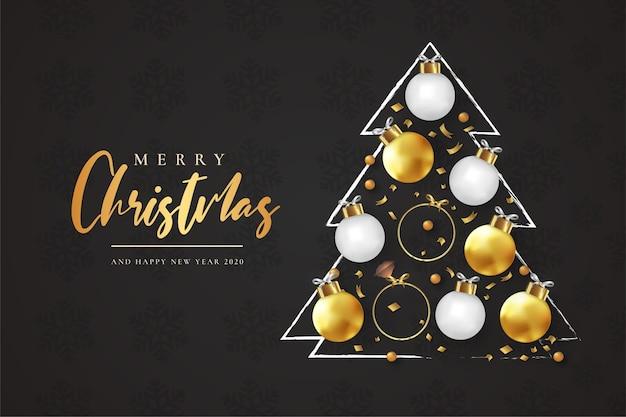 Wesołych świąt i szczęśliwego nowego roku kartka z abstrakcyjną choinką