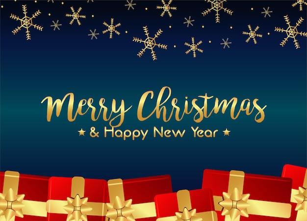Wesołych świąt i szczęśliwego nowego roku kartka z napisem z czerwonymi prezentami i ilustracją złotych płatków śniegu