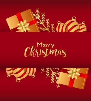 Wesołych świąt i szczęśliwego nowego roku kartka z napisem ze złotymi kulkami i ilustracją prezentów