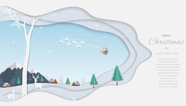 Wesołych świąt i szczęśliwego nowego roku kartkę z życzeniami, renifery z mikołajem na tle zimowego