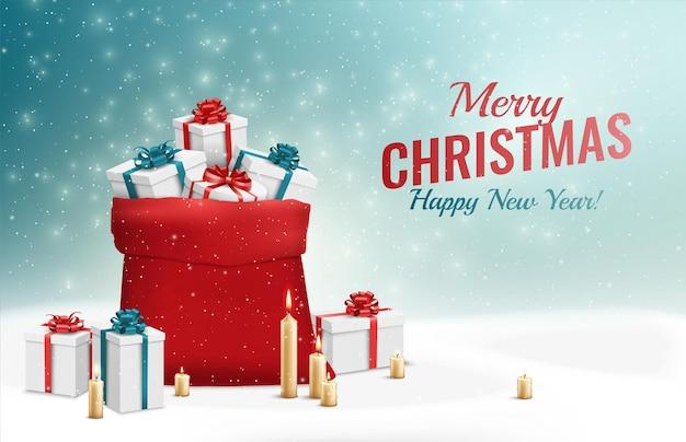 Wesołych świąt i szczęśliwego nowego roku kartkę z życzeniami z ilustracją. czerwony worek z prezentami