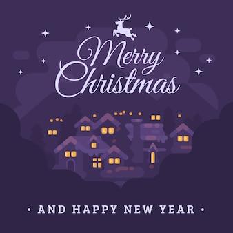 Wesołych świąt i szczęśliwego nowego roku kartkę z życzeniami z nocy górskiej miejscowości krajobraz chory