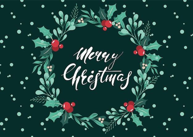 Wesołych świąt i szczęśliwego nowego roku kartkę z życzeniami z odręczną kaligrafią