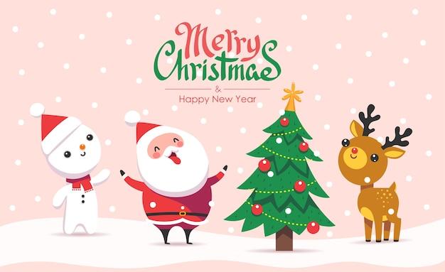 Wesołych świąt i szczęśliwego nowego roku. kartkę z życzeniami z płatkami śniegu i zabawnym mikołajem z przyjaciółmi. płaski styl kreskówki.