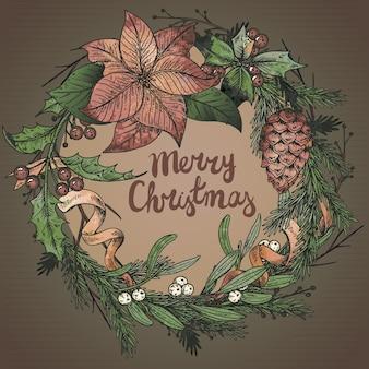 Wesołych świąt i szczęśliwego nowego roku kartkę z życzeniami z ręcznie rysowane zimowe rośliny. vintage ilustracji.