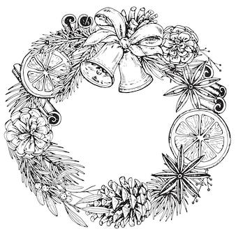 Wesołych świąt i szczęśliwego nowego roku kartkę z życzeniami z ręcznie rysowane zimowe rośliny
