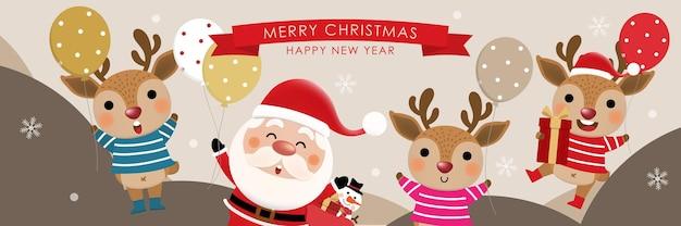 Wesołych świąt i szczęśliwego nowego roku kartkę z życzeniami z uroczym bałwanem świętego mikołaja i jeleniem