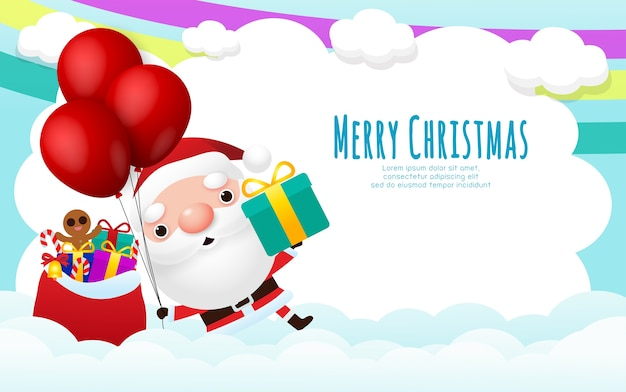 Wesołych świąt i szczęśliwego nowego roku kartkę z życzeniami z uroczym mikołajem z pudełkiem i balonem