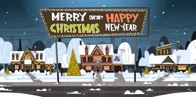 Wesołych świąt i szczęśliwego nowego roku kartkę z życzeniami z zielonego drzewa wakacyjnego w pobliżu domu snowy