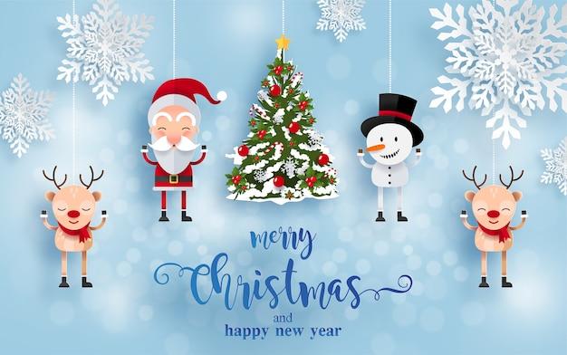 Wesołych świąt i szczęśliwego nowego roku kartkę z życzeniami ze szczęśliwymi postaciami. święty mikołaj, bałwan i renifer