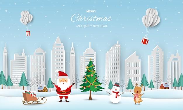 Wesołych świąt i szczęśliwego nowego roku kartkę z życzeniami, zimowy krajobraz z mikołajem i przyjaciółmi