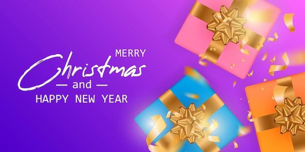 Wesołych świąt i szczęśliwego nowego roku karty. baner świąteczny.