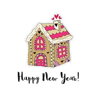 Wesołych świąt i szczęśliwego nowego roku karty wektor kreskówka. naklejka z domkiem z piernika.