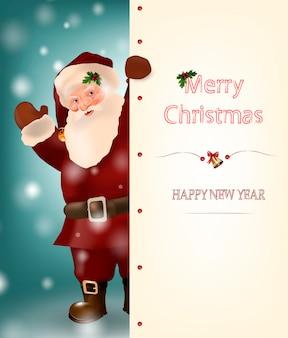 Wesołych świąt i szczęśliwego nowego roku karty z mikołajem