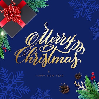 Wesołych świąt i szczęśliwego nowego roku karty z prezentami i napisem. tło z realistycznymi dekoracjami świątecznymi