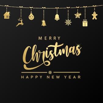 Wesołych świąt i szczęśliwego nowego roku karty ze złotym tekstem i wiszącymi ozdobami. wektor.