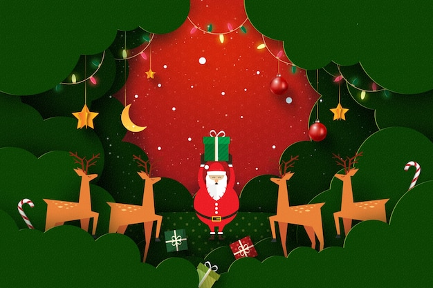 Wesołych świąt i szczęśliwego nowego roku krajobraz sezonu zimowego, ozdobiony światłami i gwiazdami jelenia świętego mikołaja sztuka z papieru