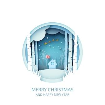 Wesołych świąt i szczęśliwego nowego roku krajobraz zimowy ze świętym mikołajem w saniach papierowa grafika