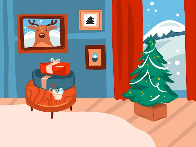 Wesołych świąt i szczęśliwego nowego roku kreskówka świąteczna karta