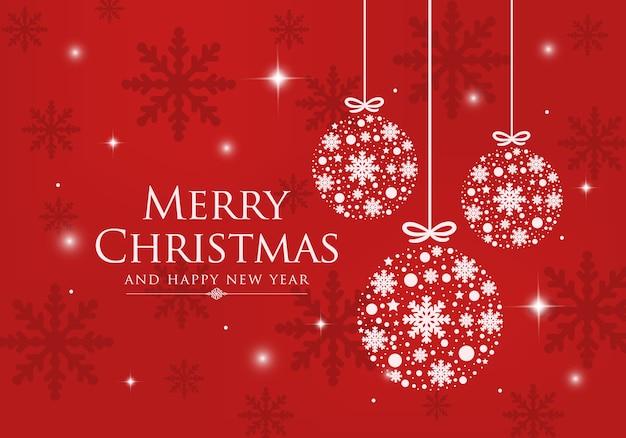 Wesołych świąt i szczęśliwego nowego roku na czerwonym tle