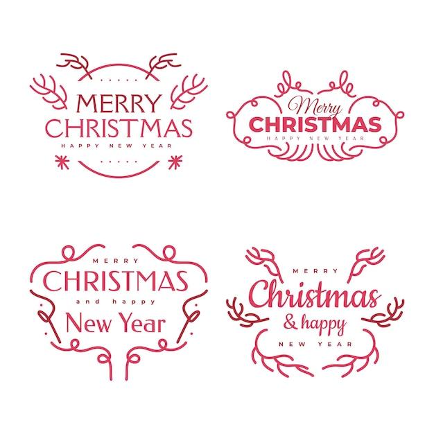 Wesołych świąt i szczęśliwego nowego roku napis projekt karty, baner lub plakat. zestaw typografii wesołych świąt