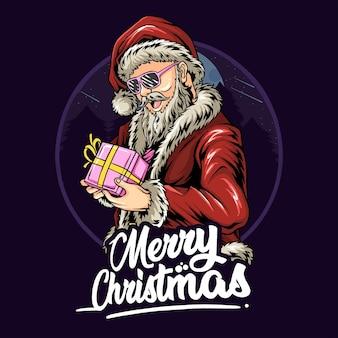 Wesołych świąt i szczęśliwego nowego roku od uroczego świętego mikołaja dającego prezenty-niespodzianki