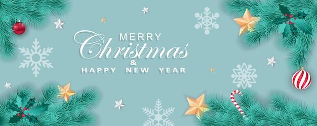 Wesołych świąt i szczęśliwego nowego roku panoramiczna kartka z życzeniami
