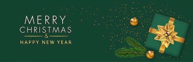 Wesołych świąt i szczęśliwego nowego roku panoramiczny baner