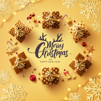 Wesołych świąt i szczęśliwego nowego roku plakat lub szablon transparent